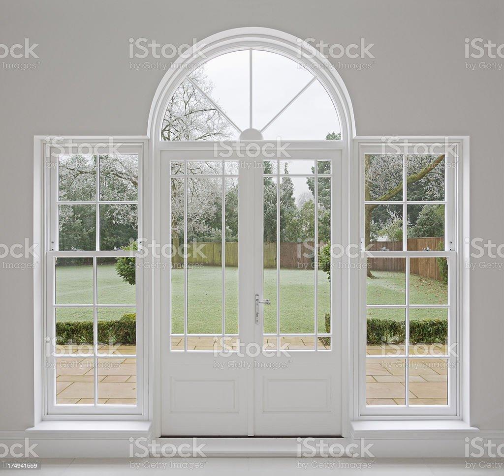beautiful white patio doors stock photo