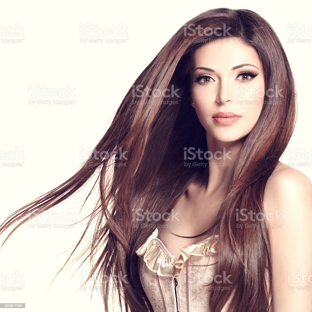 Piękny Biały ładna Kobieta Z Długie Proste Włosy Zdjęcia
