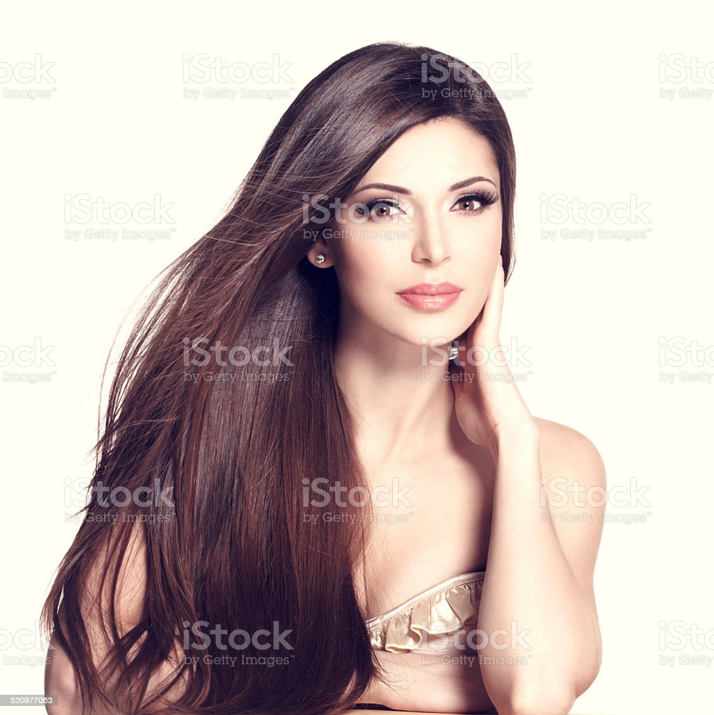 beautiful white pretty woman with long straight hair stock photo