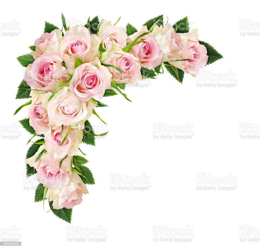 Belles Fleurs Roses Blanches Et Les Feuilles Dans Une Composition De