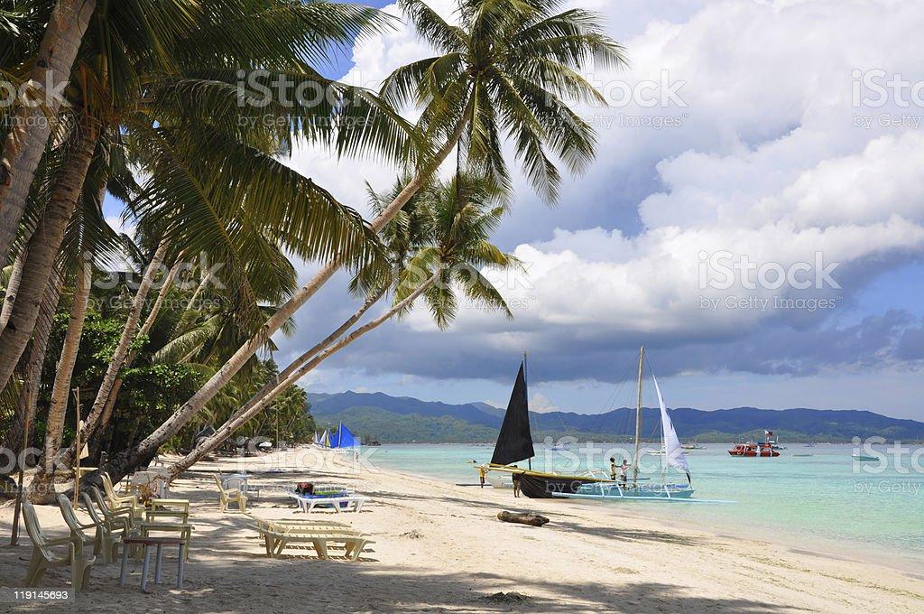 Beautiful white sand beach in Boracay royalty-free stock photo