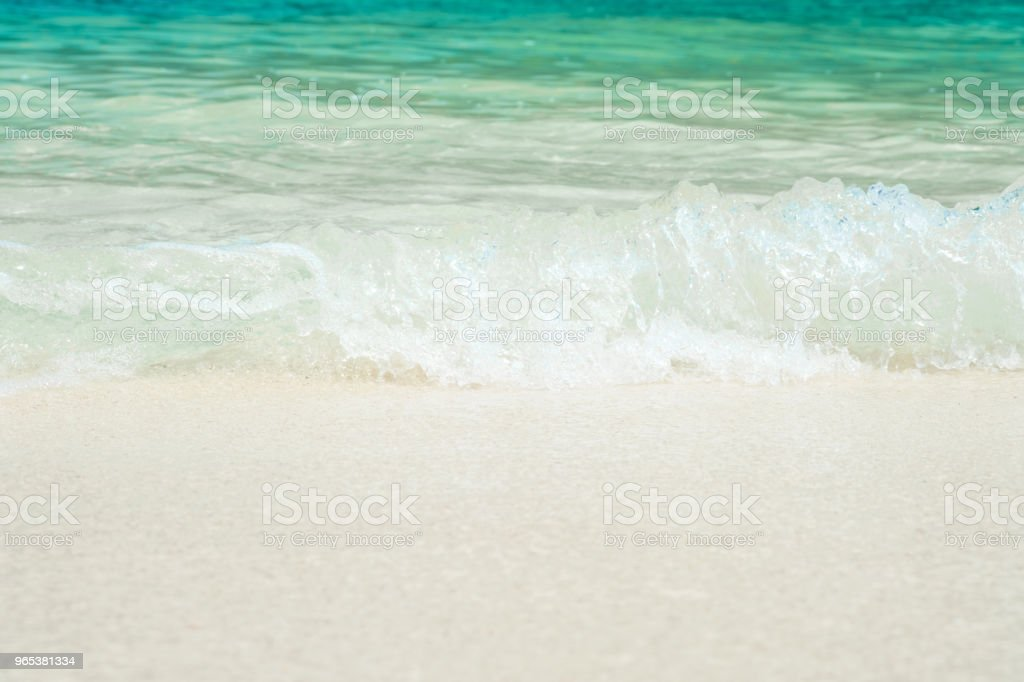 beautiful white sand beach with soft ocean wave in summer time, wave of the blue sea on the sand bech. concept travel. zbiór zdjęć royalty-free