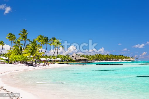 istock Beautiful white sandy beach in Cap Cana, Dominican Republic 923788736
