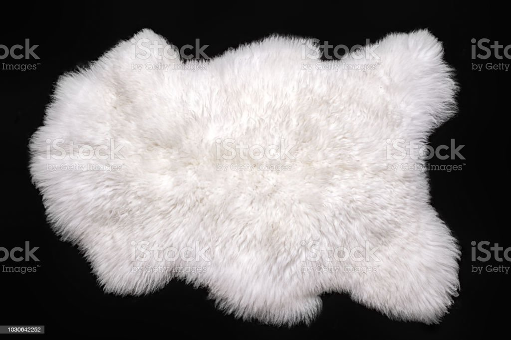 Beautiful white sheepskin isolated on a black background royalty-free stock photo