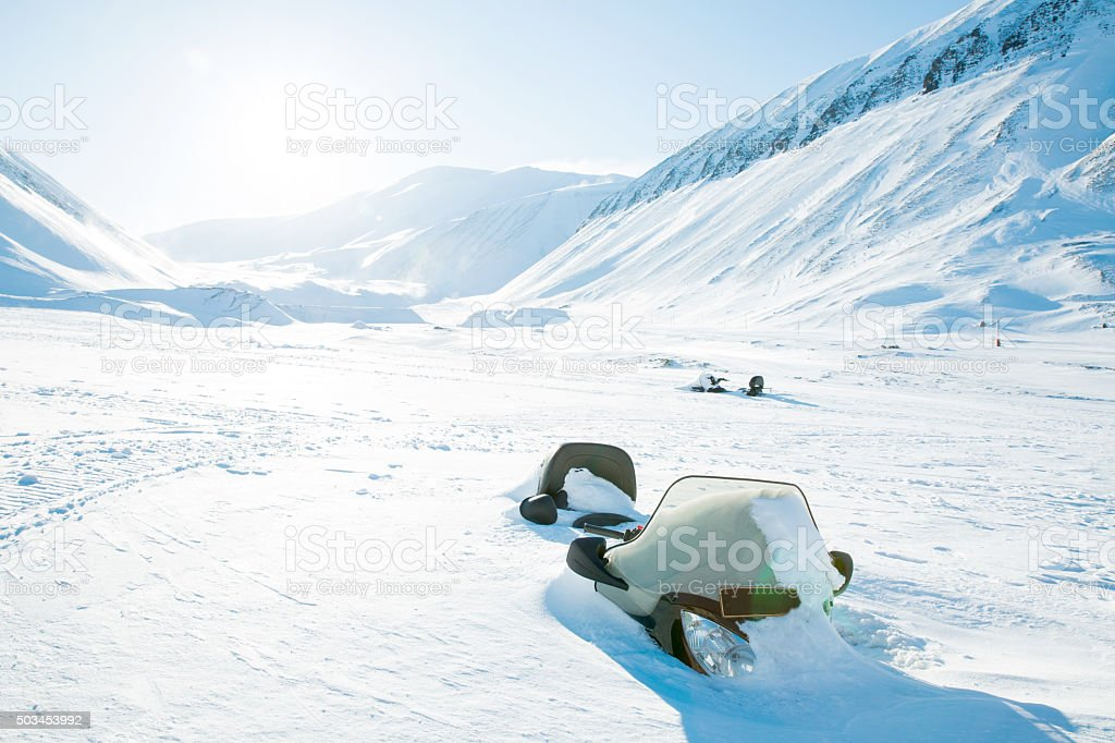 Beautiful white snowy landscape. stock photo