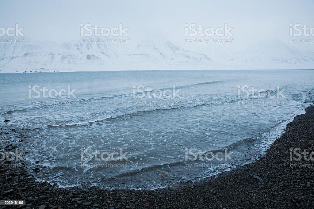 Beautiful white snowy landscape. stock photo