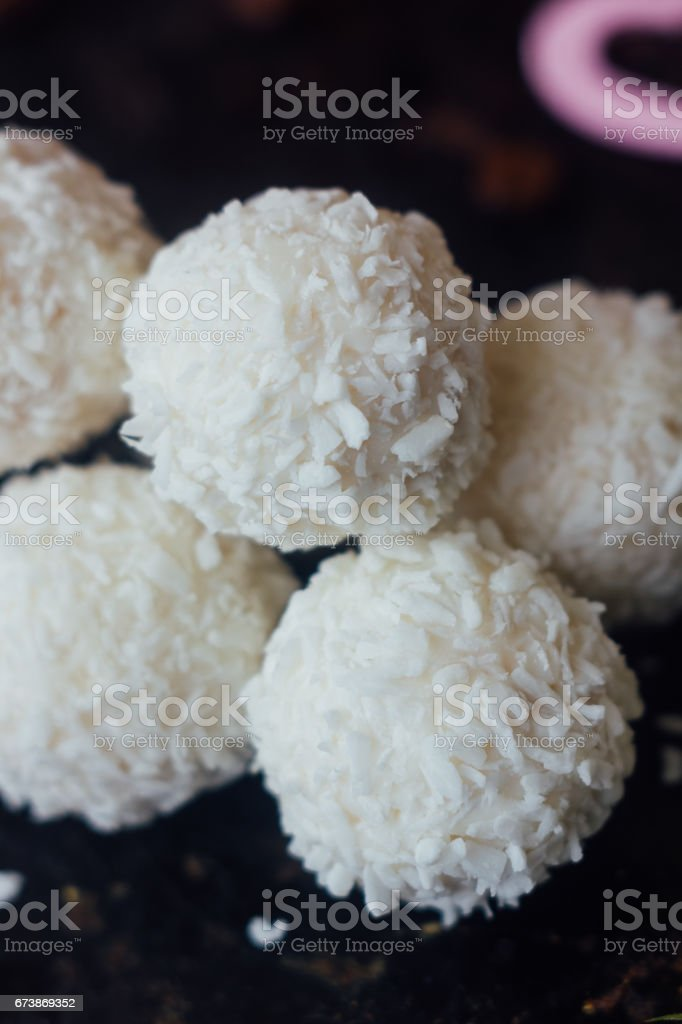 Beautiful white sweets - concept of romantic dessert. stock photo