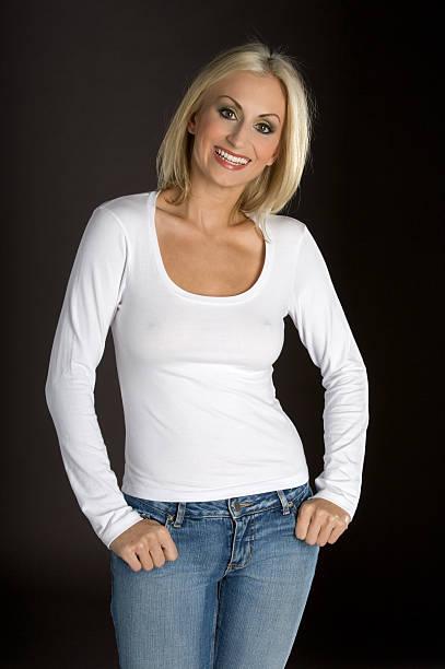 Beautiful White T-shirt stock photo