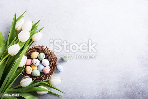 istock Beautiful white tulips 655674900