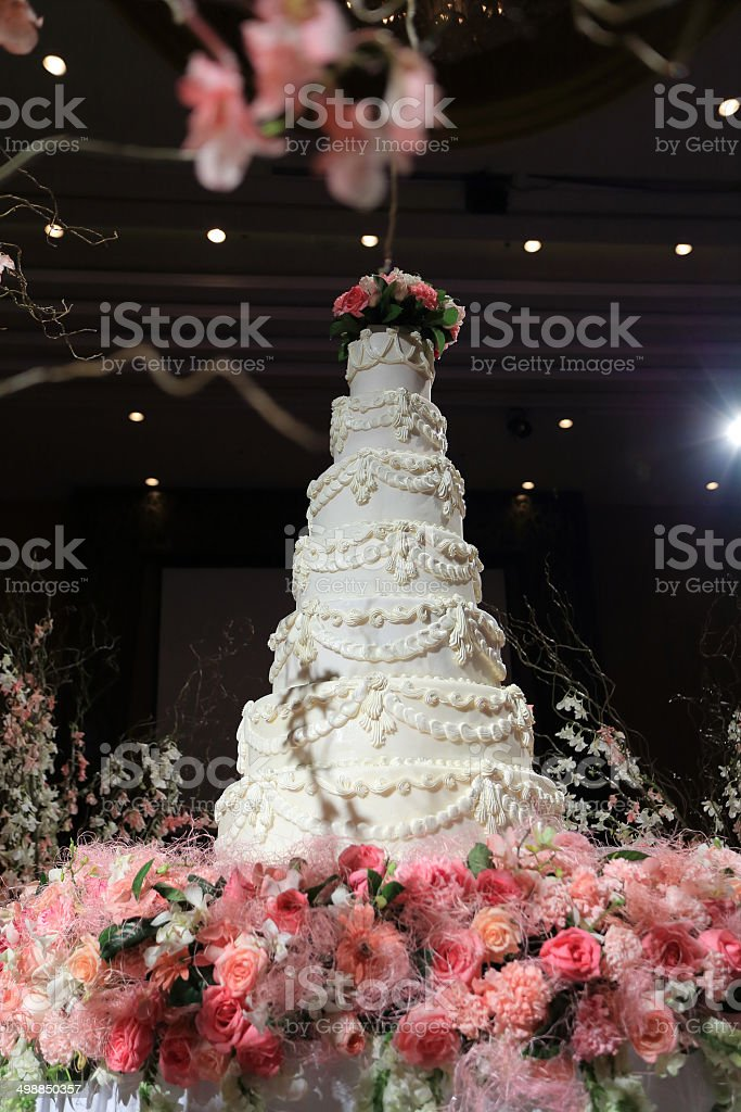 beautiful white wedding cake luxury in marriage ceremony stock photo
