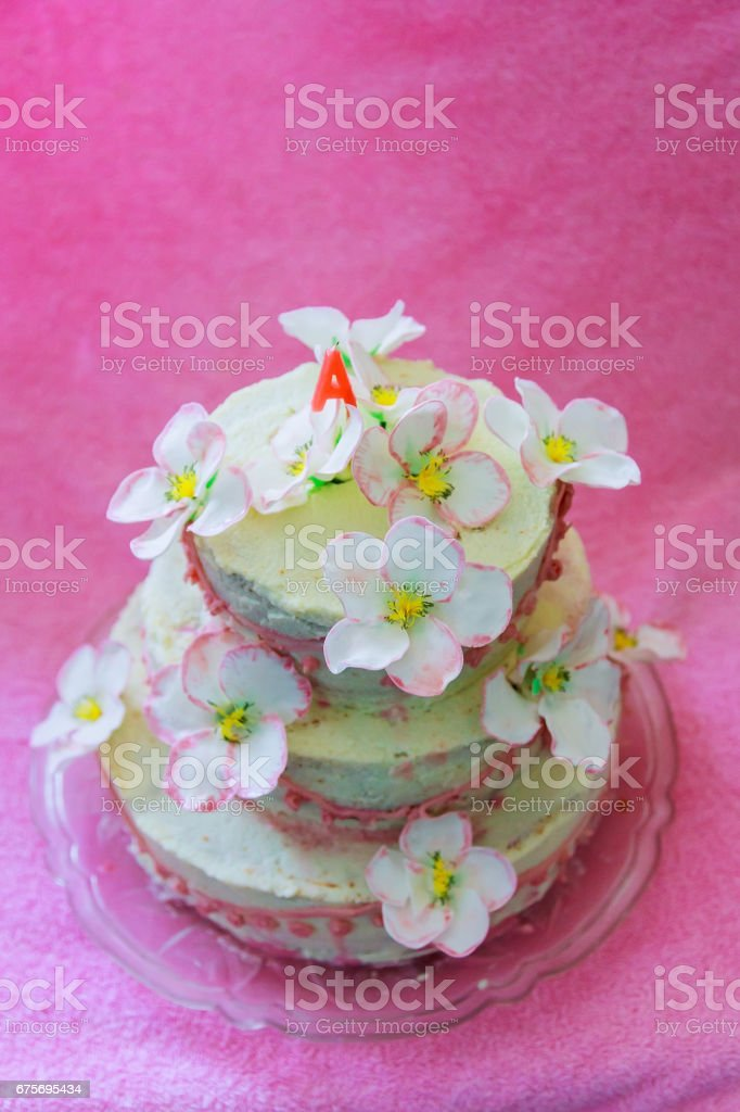 Beautiful white wedding cake royalty-free stock photo