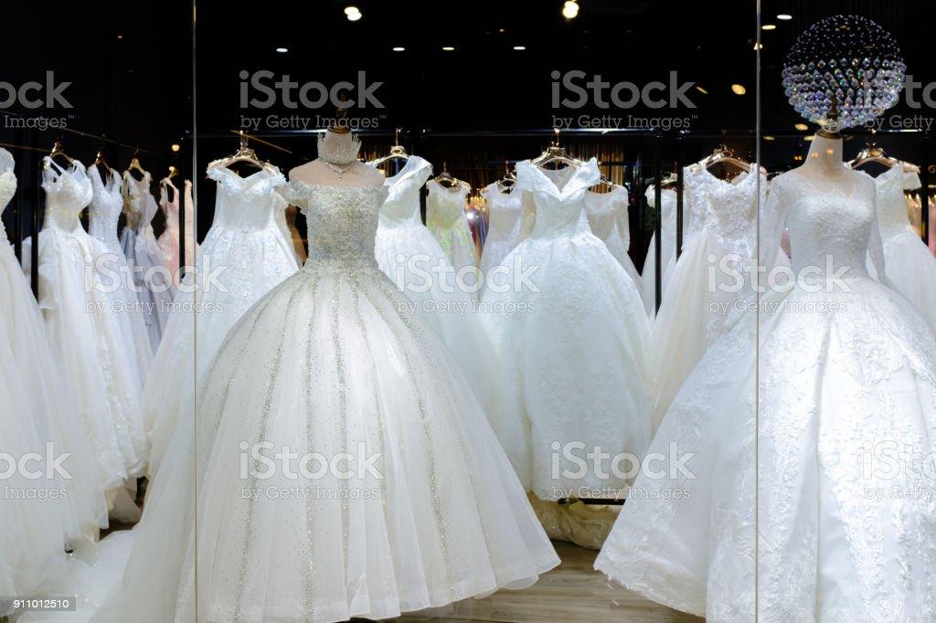 Beautiful white wedding dress stock photo