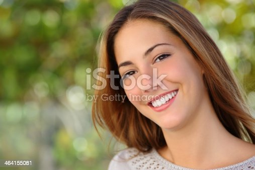 istock Beautiful white woman smile dental care concept 464155081