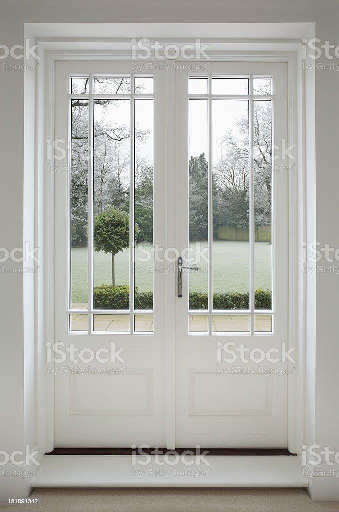 ... Beautiful White Wooden Patio Doors Stock Photo ...
