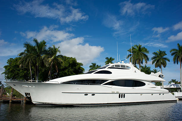 Beautiful white yacht harbored in Florida, USA stock photo