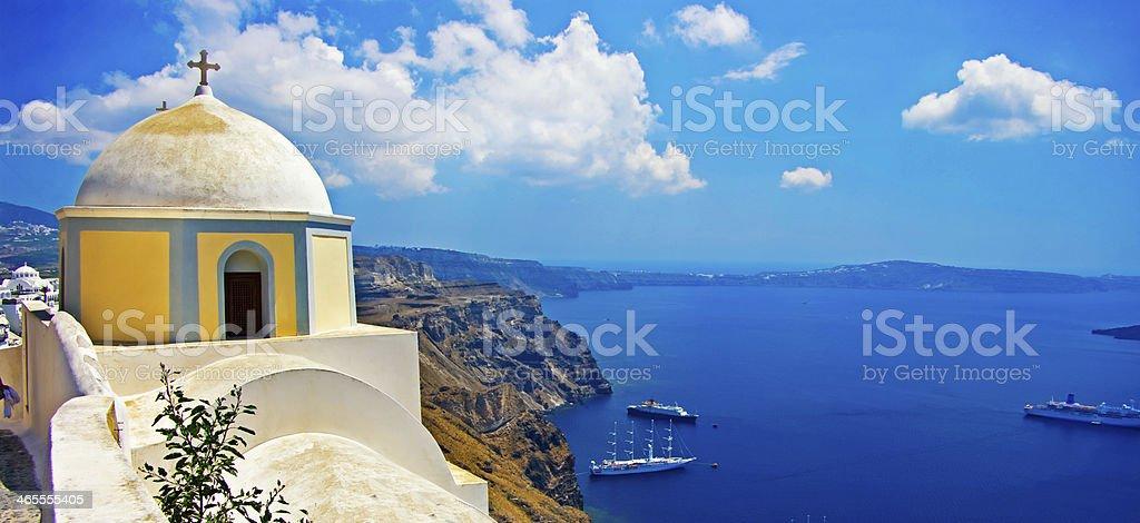 beautiful white-blue Santorini, Greece stock photo
