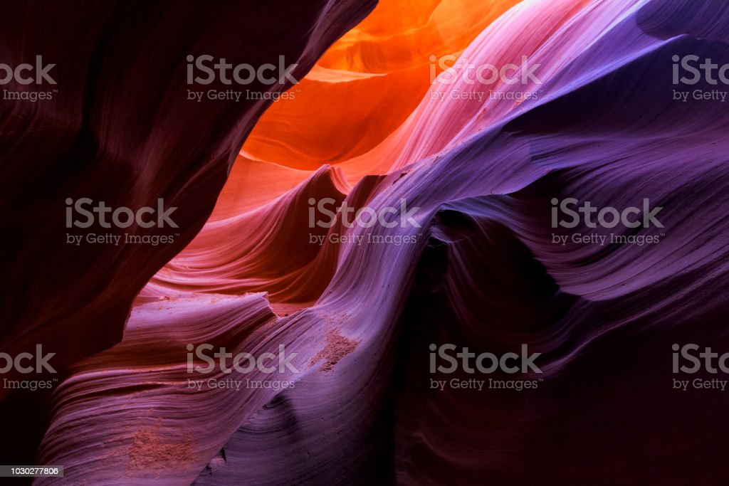Beautiful wide angle view of amazing sandstone formations in famous Lower Antelope Canyon near the historic town of Page at Lake Powell, Arizona, USA royalty-free stock photo