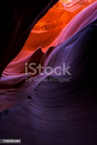 807387518 istock photo Beautiful wide angle view of amazing sandstone formations in famous Lower Antelope Canyon near the historic town of Page at Lake Powell, Arizona, USA 1035084484