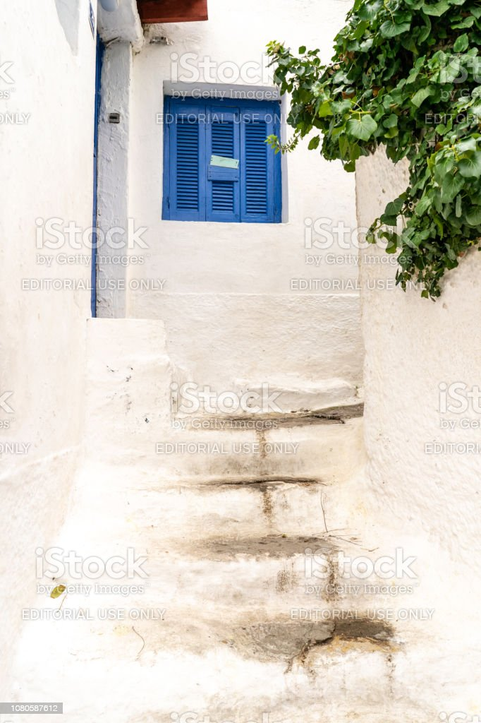 Beautiful winding streets in Anafiotika in Athens, Greece stock photo