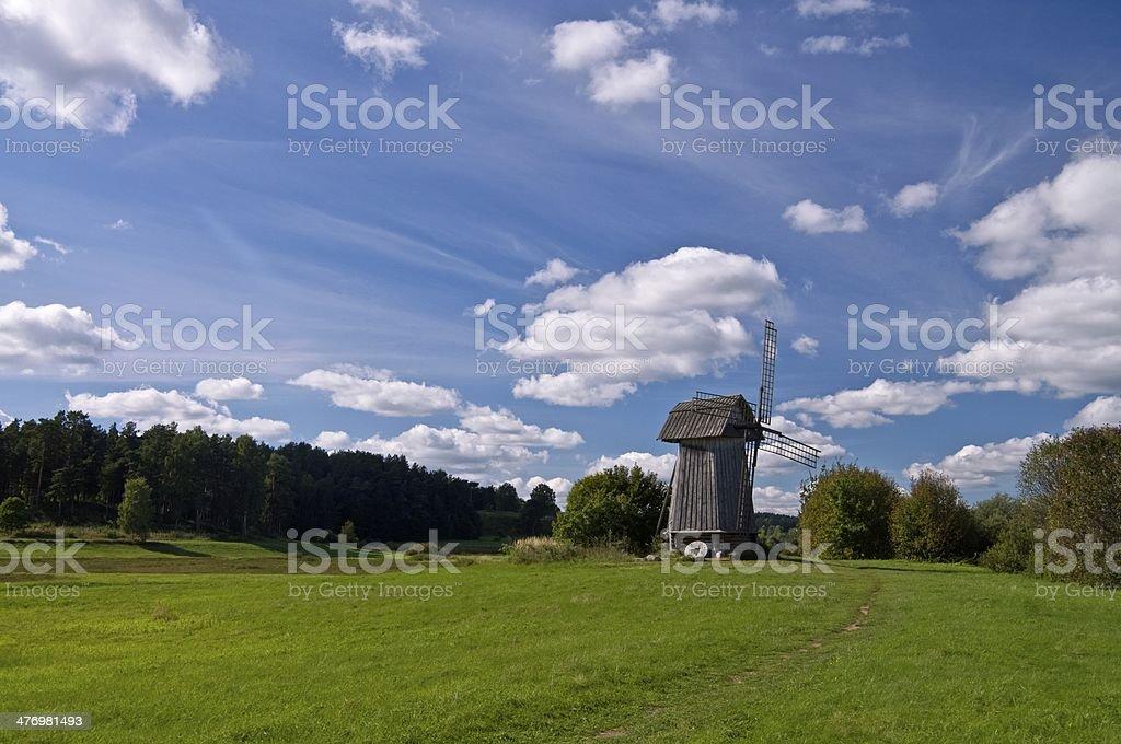 Beautiful windmill landscape stock photo