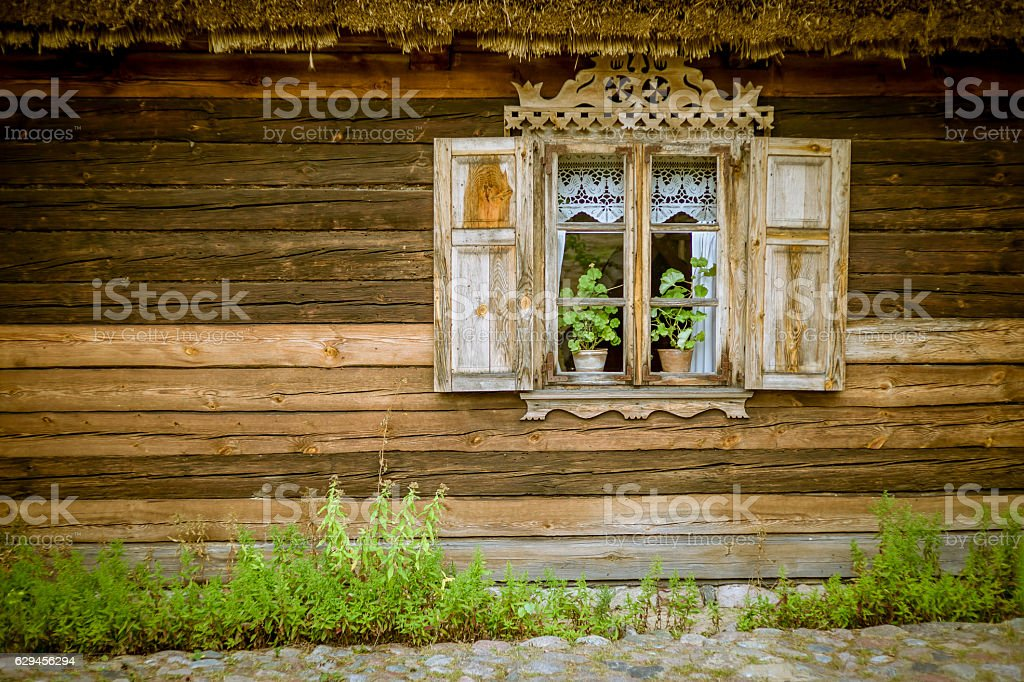 beautiful window in an old house stock photo