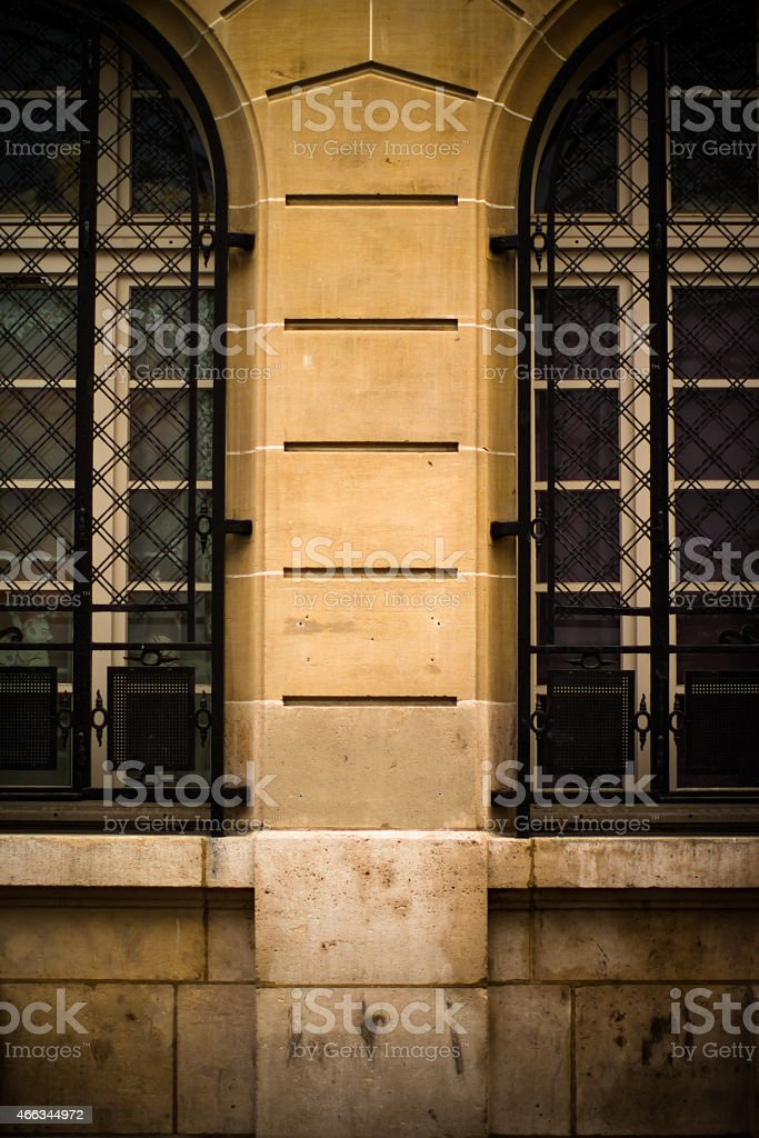 Beautiful Windows with Security Grille stock photo
