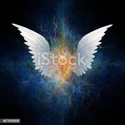 istock Beautiful wing design on a dark blue background 467606936