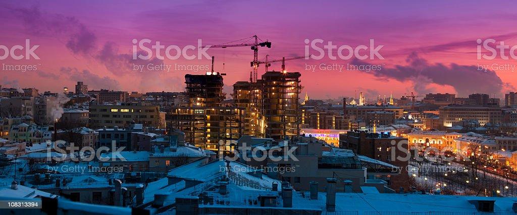 Beautiful winter cityscape at sunset. Panoramic view stock photo
