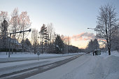 Winter time in Tampere forest with nobody around. Tampere is a city in Pirkanmaa, southern Finland. It is the most populous inland city in the Nordic countries.