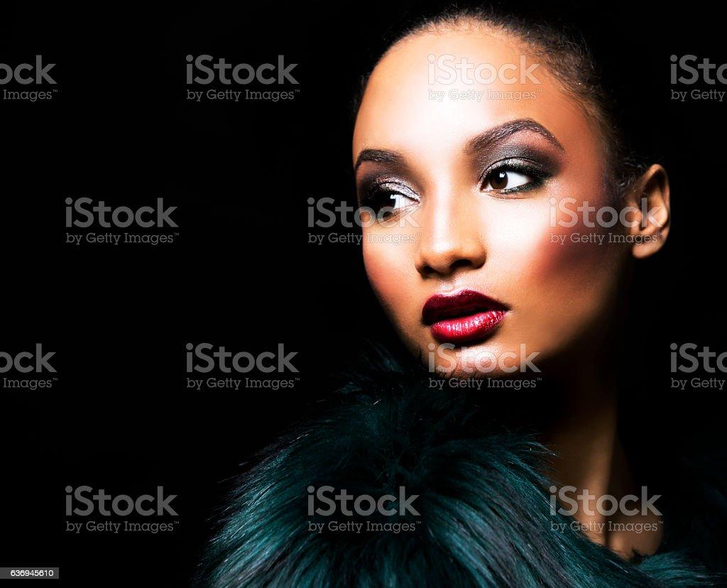 beautiful winter glamour woman stock photo