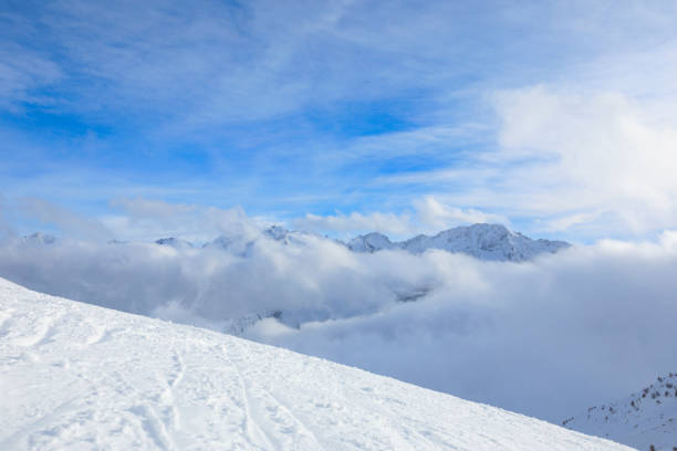 Beautiful winter High mountain landscape Snow on the top of  ski resort. Alps, Dolomite, Italy, Europe stock photo