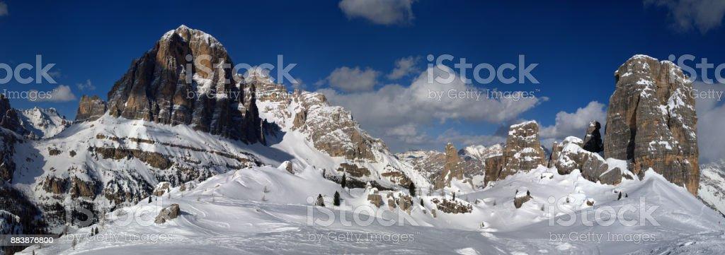 Beautiful Winter Landscape in the Italian Dolomites. Tofana di Rozes with the Cinque Torri group. Cortina d'Ampezzo, Veneto. Italy stock photo
