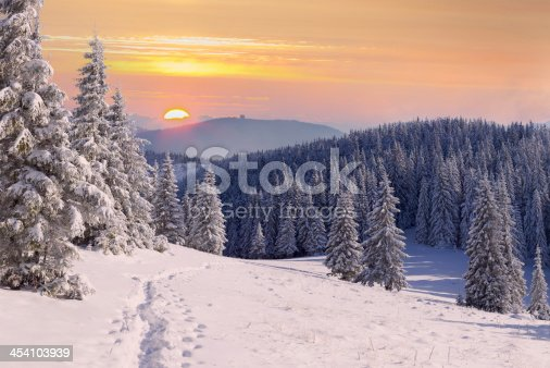 1061644120 istock photo Beautiful winter landscape in the mountains 454103939