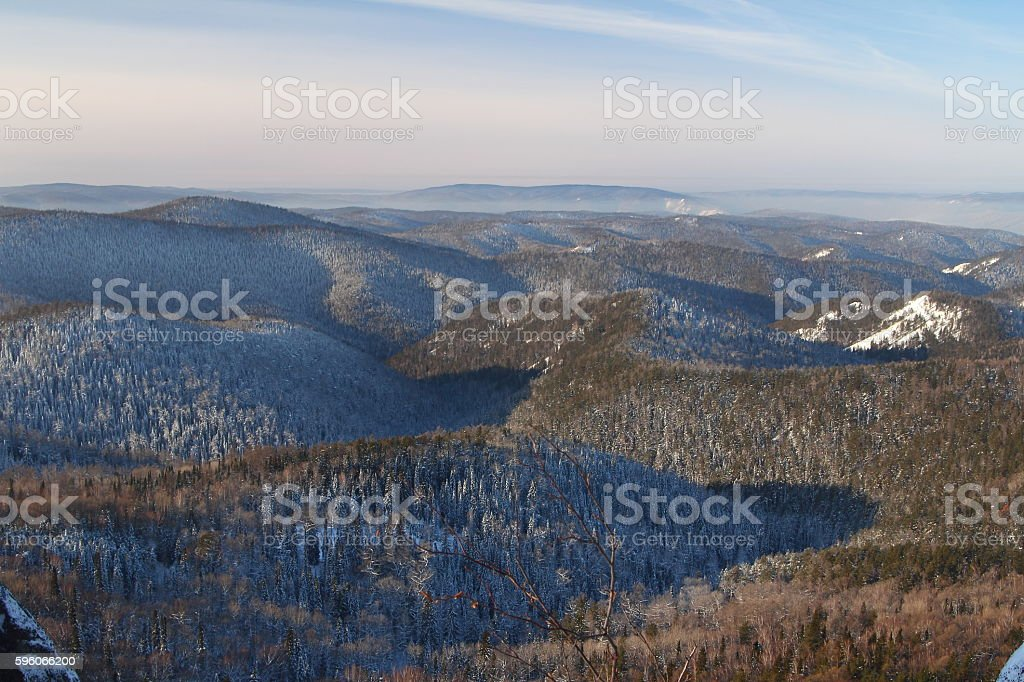 Beautiful winter landscape. Mountains. Reserve. Красивый зимний пейзаж. Горы. Заповедник. royalty-free stock photo