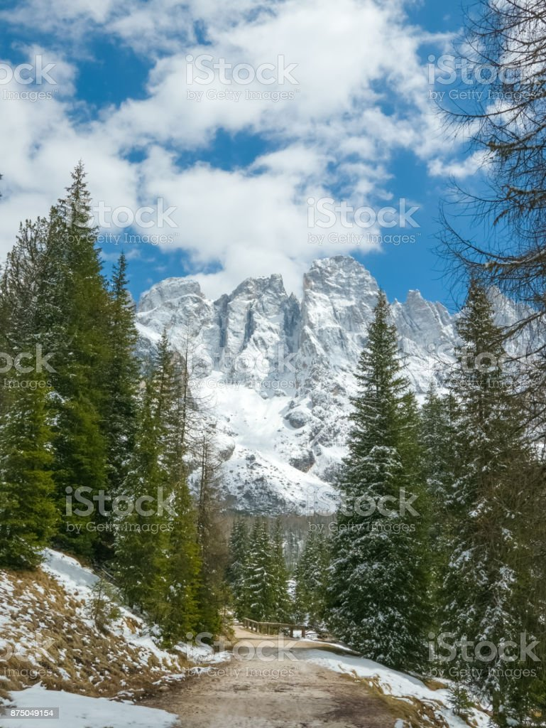 Beautiful winter landscape of Alpine mountains stock photo
