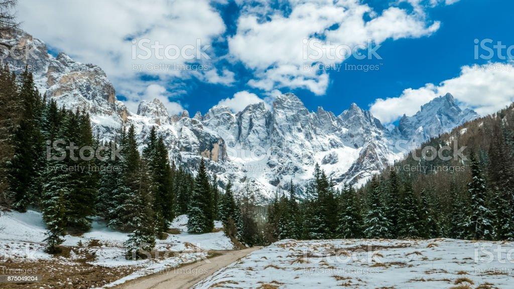 Beautiful winter landscape of Alpine mountains, Sudtirol, Italy stock photo