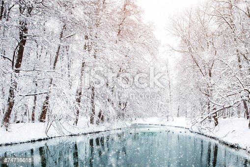 istock Beautiful winter landscape with snow covered trees. Happy New Year. Merry Christmas 874716618