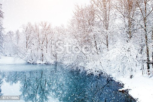 istock Beautiful winter landscape with snow covered trees. Happy New Year. Merry Christmas 874716680
