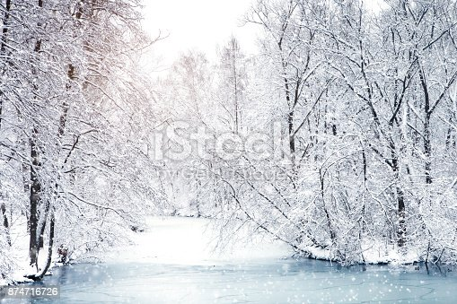 istock Beautiful winter landscape with snow covered trees. Happy New Year. Merry Christmas 874716726