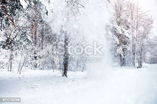 istock Beautiful winter landscape with snow covered trees. Happy New Year. Merry Christmas 874716768