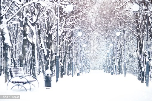 istock Beautiful winter landscape with snow covered trees. Happy New Year. Merry Christmas 874716808