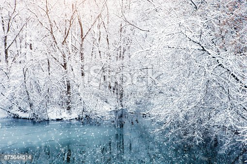 istock Beautiful winter landscape with snow covered trees. Happy New Year. Merry Christmas 875644514