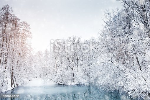 istock Beautiful winter landscape with snow covered trees. Happy New Year. Merry Christmas 875644572
