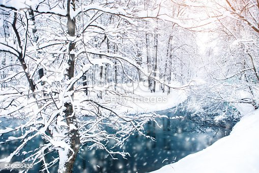 istock Beautiful winter landscape with snow covered trees. Happy New Year. Merry Christmas 876886430