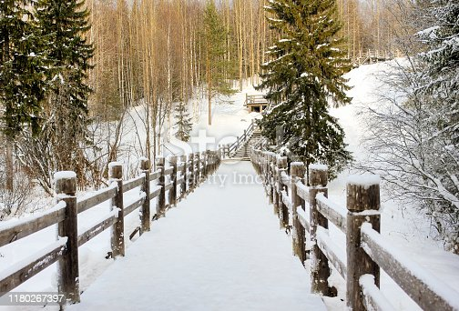 Beautiful winter landscape. Wooden bridge in a forest or park