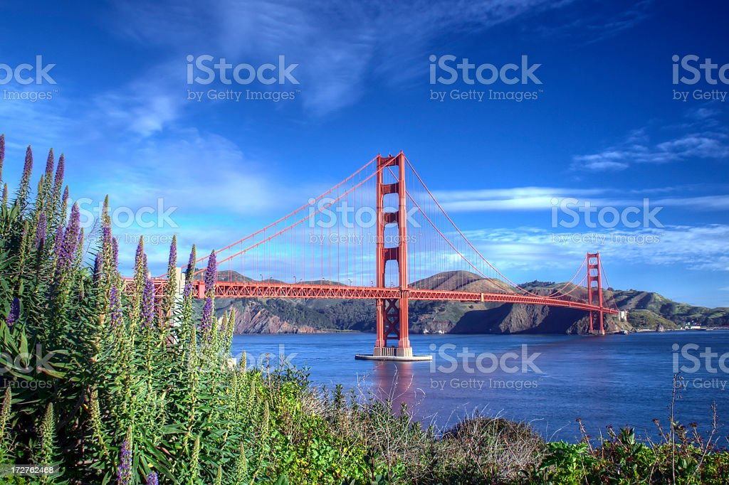 A beautiful winter morning view of the Golden Gate Bridge stock photo