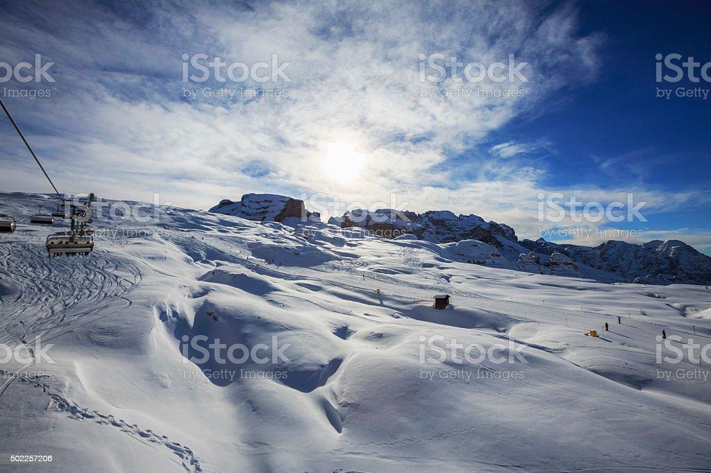 Beautiful winter mountains landscape Ski lift  Ski resort stock photo
