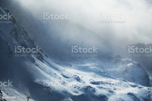 Photo of Beautiful winter mountains on stormy weather