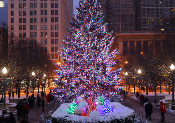 Christmas Tree Downtown Chicago.Christmas Tree Downtown Chicago Stock Photos Pictures