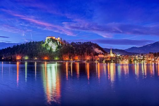Beautiful Winter Night In Lake Bled Slovenia Stock Photo